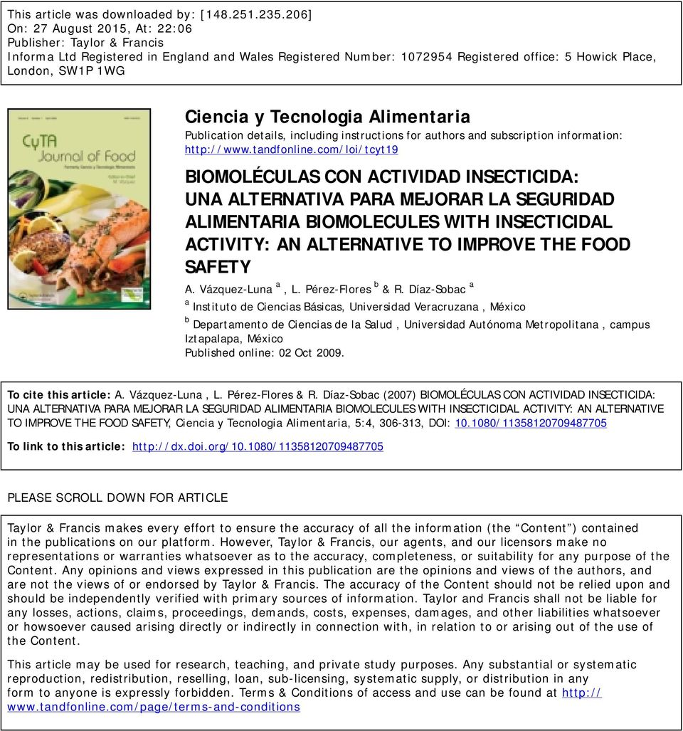 Tecnologia Alimentaria Publication details, including instructions for authors and subscription information: http://www.tandfonline.