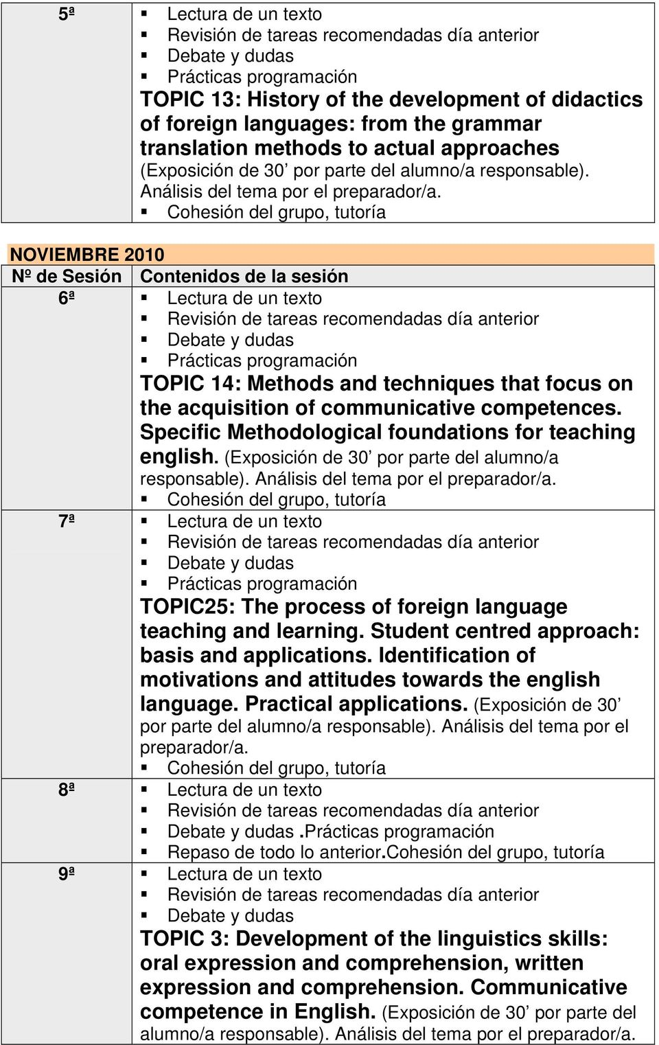 7ª Lectura de un texto TOPIC25: The process of foreign language teaching and learning. Student centred approach: basis and applications.