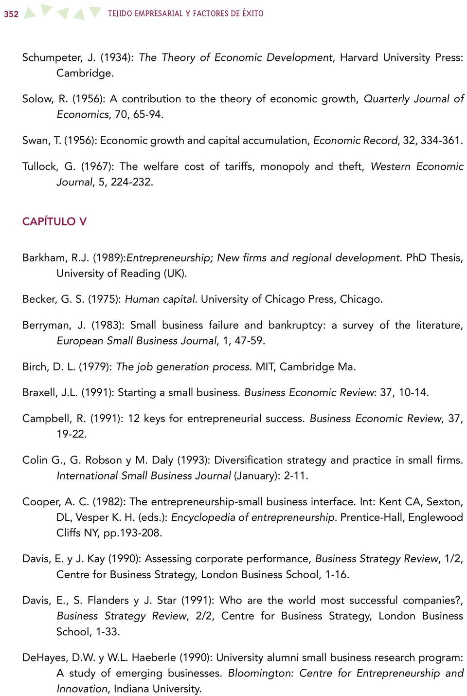 (1967): The welfare cost of tariffs, monopoly and theft, Western Economic Journal, 5, 224-232. CAPÍTULO V Barkham, R.J. (1989):Entrepreneurship; New firms and regional development.