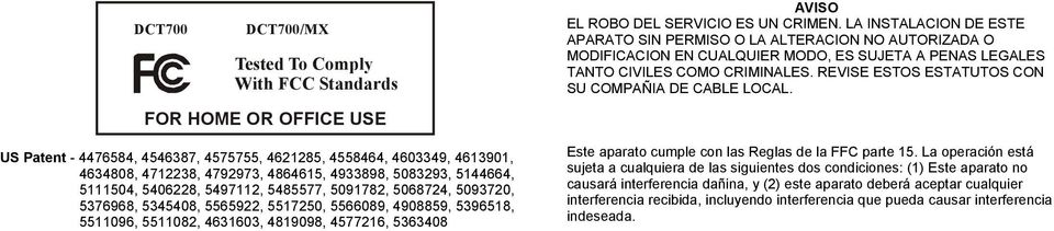 FO HOME O OFFICE USE US Patent - 4476584, 4546387, 4575755, 4621285, 4558464, 4603349, 4613901, 4634808, 4712238, 4792973, 4864615, 4933898, 5083293, 5144664, 5111504, 5406228, 5497112, 5485577,