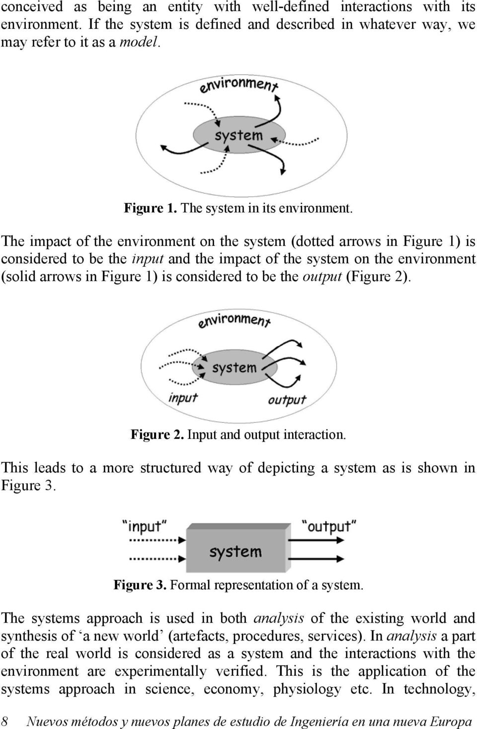 The impact of the environment on the system (dotted arrows in Figure 1) is considered to be the input and the impact of the system on the environment (solid arrows in Figure 1) is considered to be