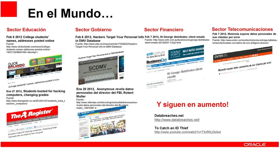 com/news/article/172302/2/hackers- Target-Your-Personal-Info-in-DMV-Database Sector Financiero Feb 7 2012, St George distributes client emails Fuente: http://www.smh.com.au/business/st-george-distributesclient-emails-20120207-1r3q2.