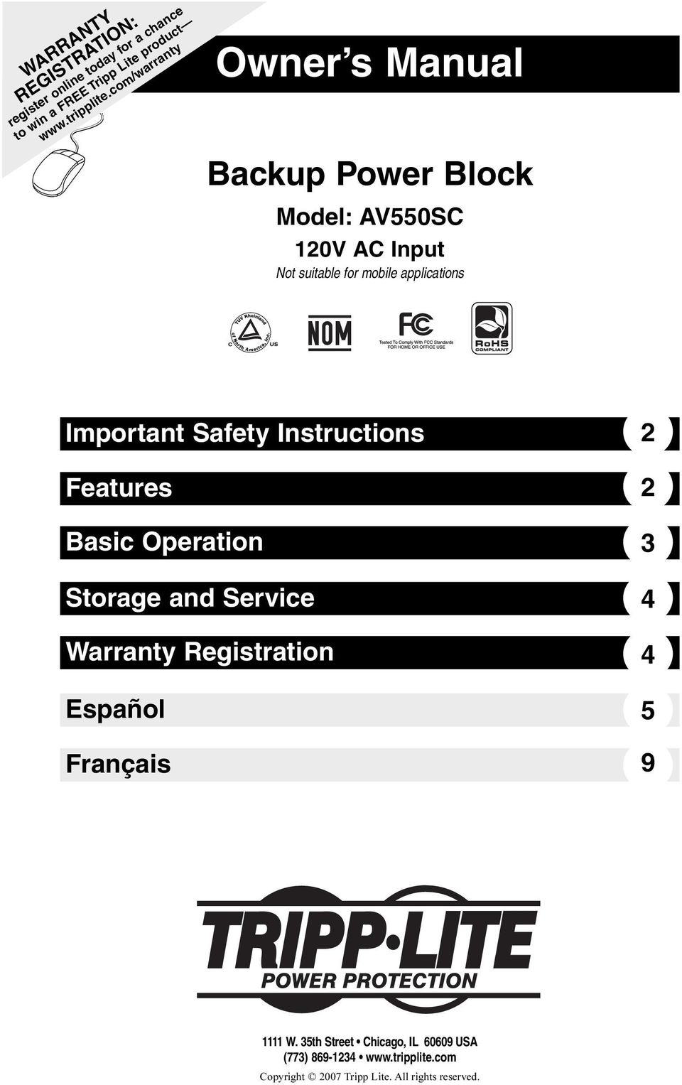 Important Safety Instructions 2 Features 2 Basic Operation Storage and Service Warranty Registration Español