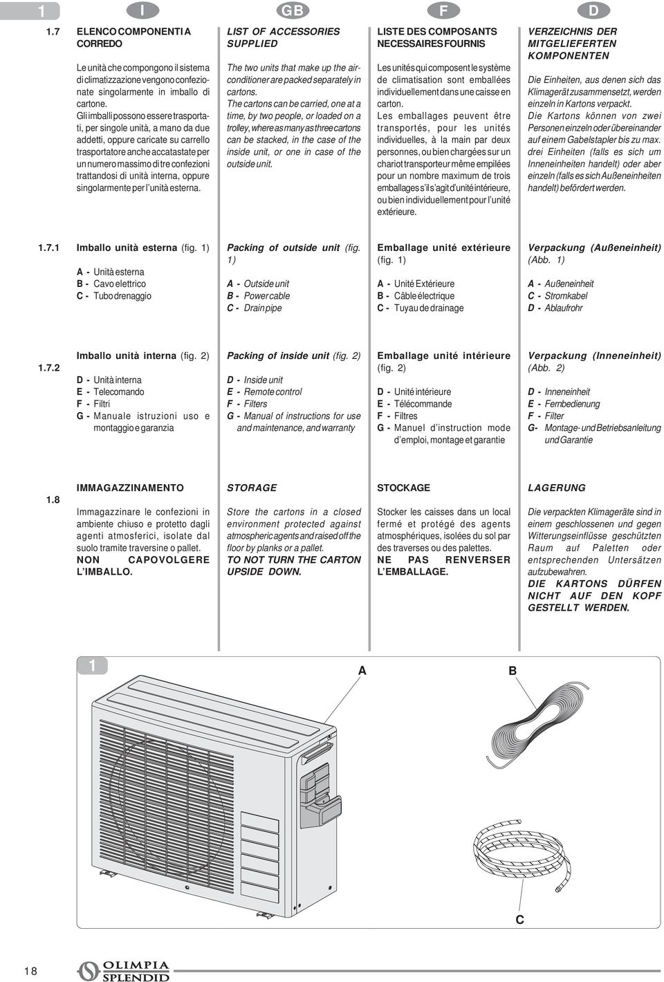 unità interna, oppure singolarmente per l unità esterna. LIST OF CCESSORIES SUPPLIED The two units that make up the airconditioner are packed separately in cartons.