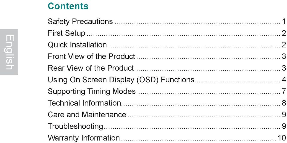 .. 3 Using On Screen Display (OSD) Functions... 4 Supporting Timing Modes.