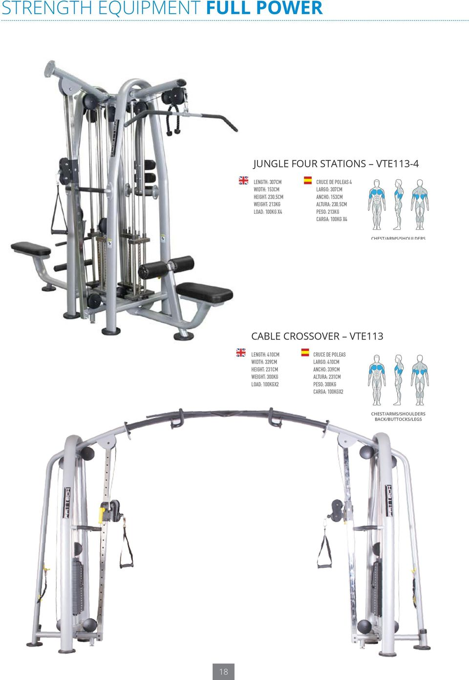 CHEST/ARMS/SHOULDERS BACK/BUTTOCKS/LEGS cable crossover VTE113 LEGS/GLUTEALS INNER THIGHS/OUTER THIGHS /SHOULDERS/CHEST SIDE/ABDOMINALS/BACK Length: 410cm Width: 339cm