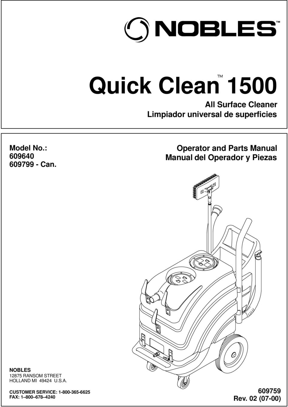 Operator and Parts Manual Manual del Operador y Piezas NOBLES 12875
