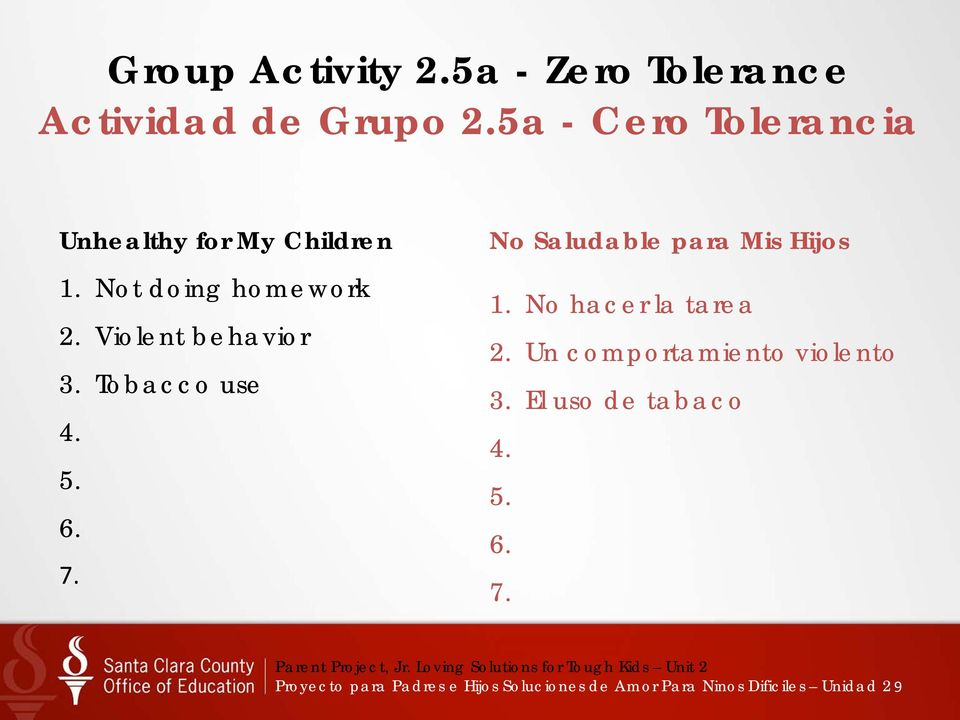 Violent behavior 3. Tobacco use 6. 7. No Saludable para Mis Hijos 1.