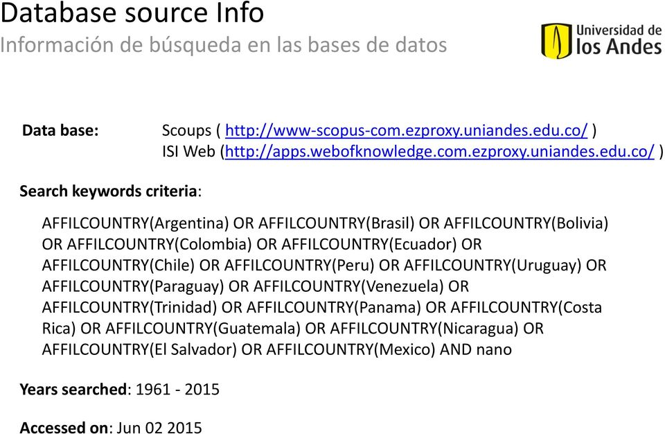 co/ ) Search keywords criteria: AFFILCOUNTRY(Argentina) OR AFFILCOUNTRY(Brasil) OR AFFILCOUNTRY(Bolivia) OR AFFILCOUNTRY(Colombia) OR AFFILCOUNTRY(Ecuador) OR AFFILCOUNTRY(Chile)
