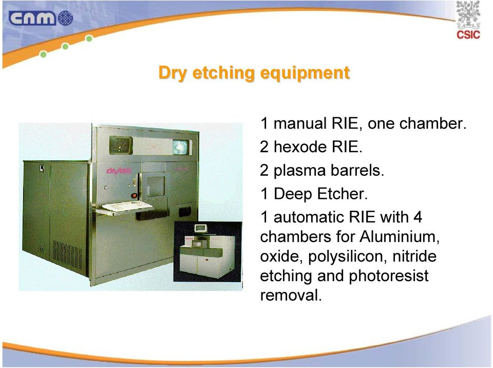 1 automatic RIE with 4 chambers for Aluminium,