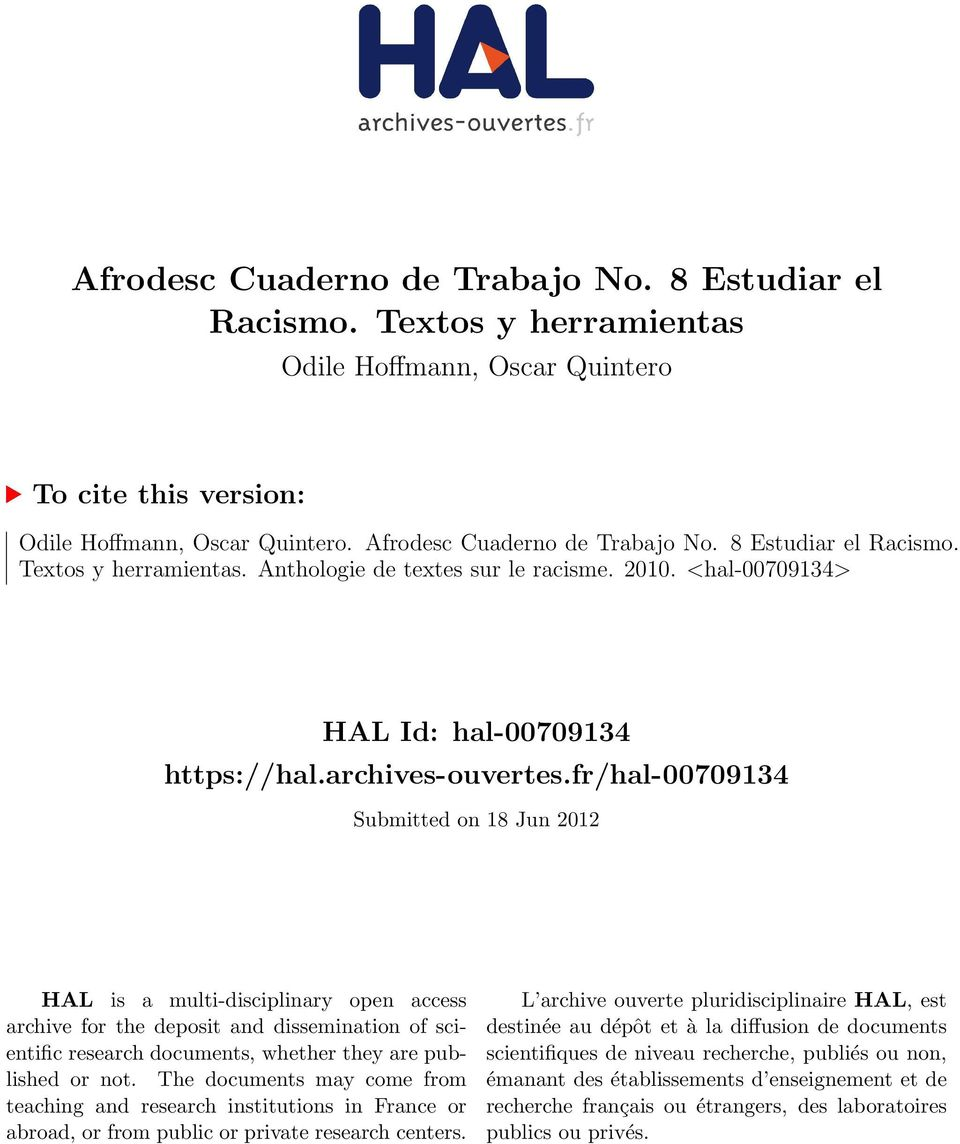 fr/hal-00709134 Submitted on 18 Jun 2012 HAL is a multi-disciplinary open access archive for the deposit and dissemination of scientific research documents, whether they are published or not.