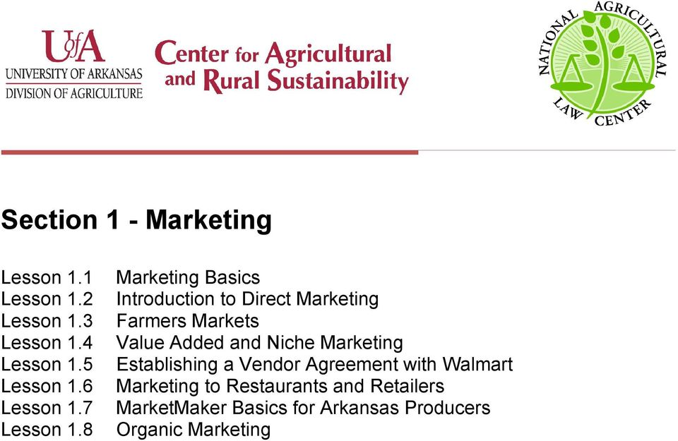 8 Marketing Basics Introduction to Direct Marketing Farmers Markets Value Added and