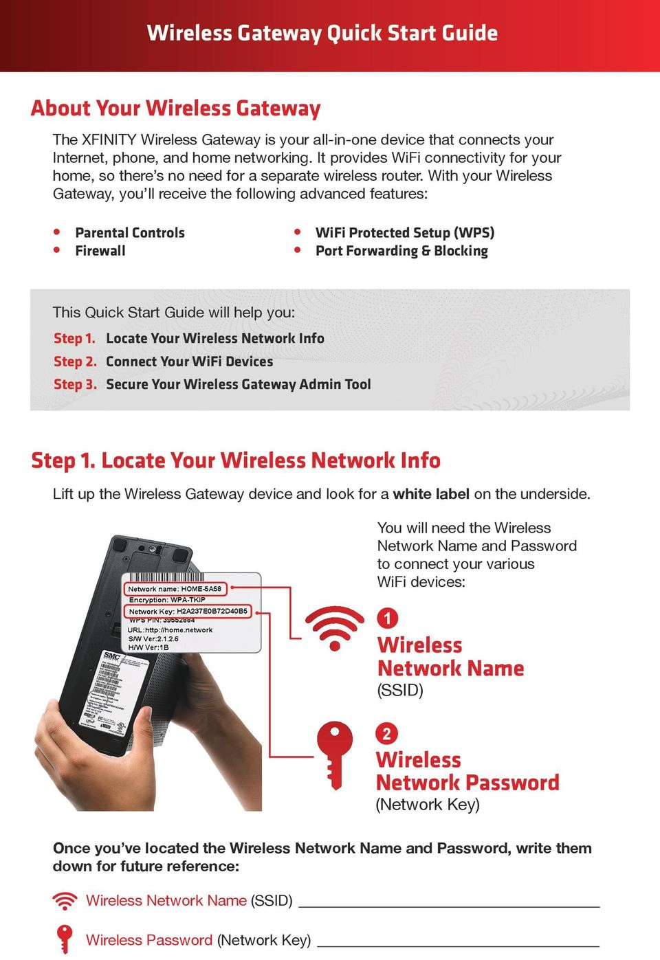 With your Wireless Gateway, you ll receive the following advanced features: Parental Controls Firewall WiFi Protected Setup (WPS) Port Forwarding & Blocking This Quick Start Guide will help you: Step