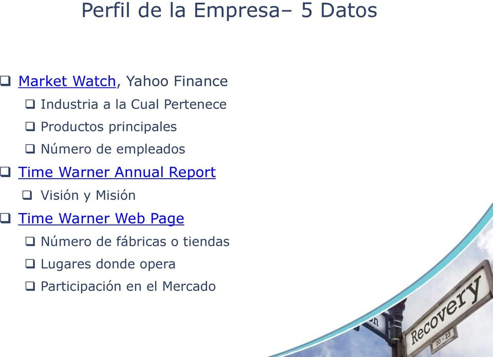 Warner Annual Report Visión y Misión Time Warner Web Page Número