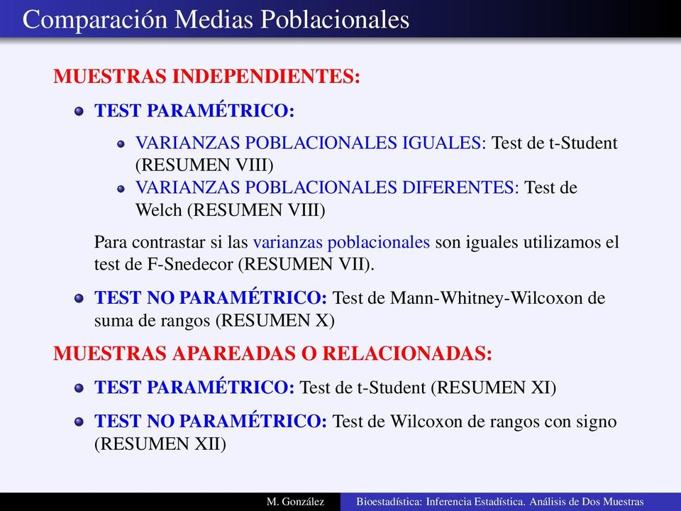 test de F-Snedecor (RESUMEN VII).
