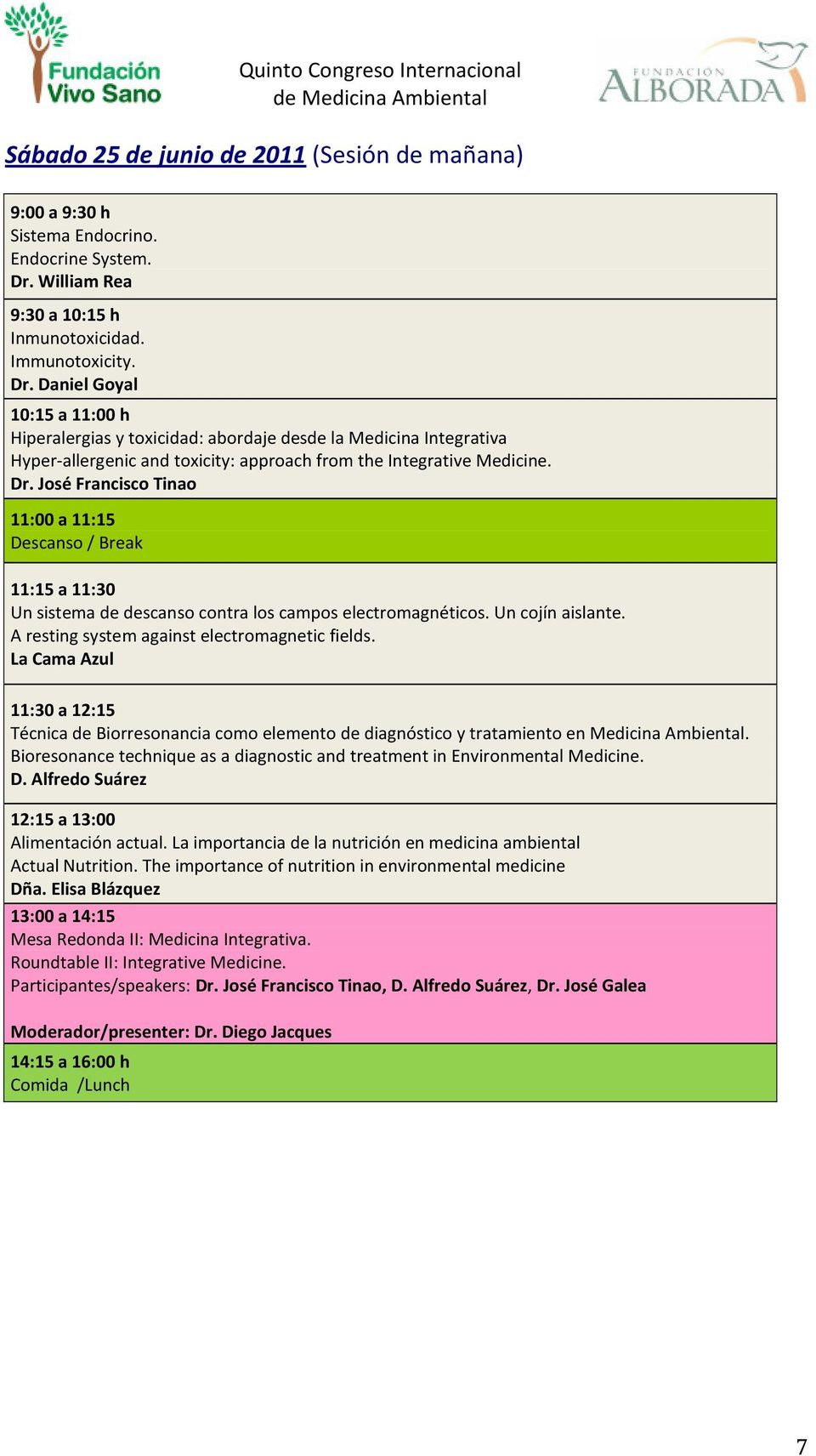 Daniel Goyal 10:15 a 11:00 h Hiperalergias y toxicidad: abordaje desde la Medicina Integrativa Hyper-allergenic and toxicity: approach from the Integrative Medicine. Dr.