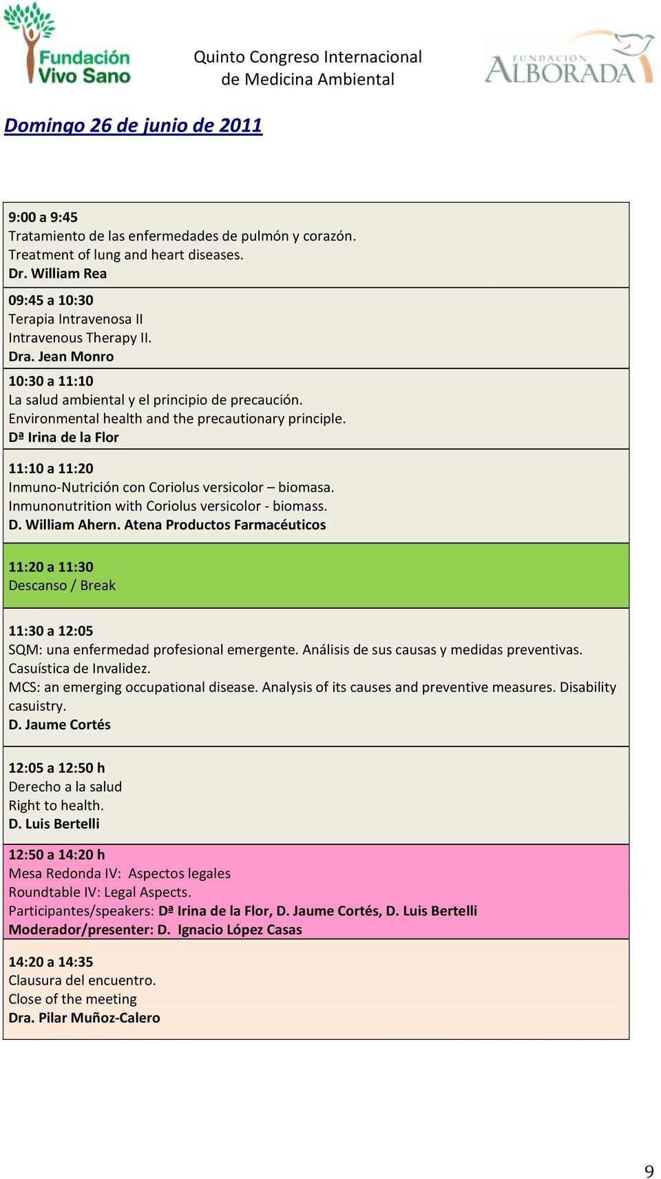 Environmental health and the precautionary principle. Dª Irina de la Flor 11:10 a 11:20 Inmuno-Nutrición con Coriolus versicolor biomasa. Inmunonutrition with Coriolus versicolor - biomass. D. William Ahern.
