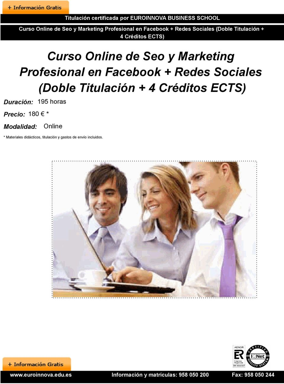 Marketing Profesional en Facebook + Redes Sociales (Doble Titulación + Duración: 195