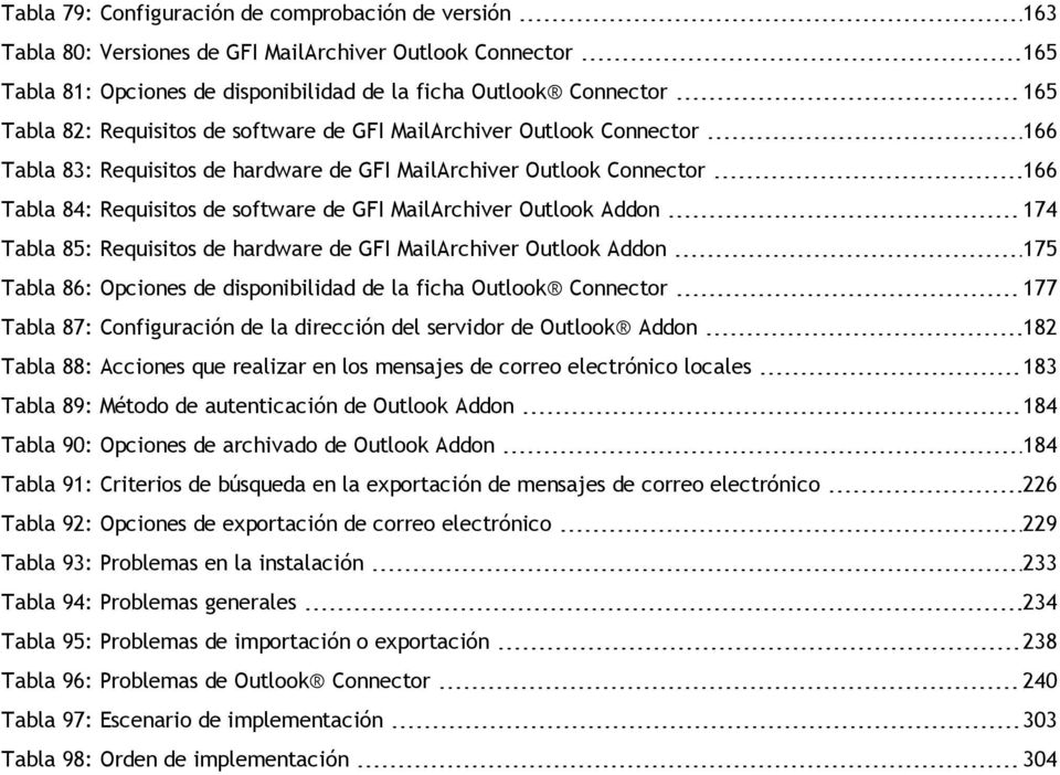 Outlook Addon 174 Tabla 85: Requisitos de hardware de GFI MailArchiver Outlook Addon 175 Tabla 86: Opciones de disponibilidad de la ficha Outlook Connector 177 Tabla 87: Configuración de la dirección