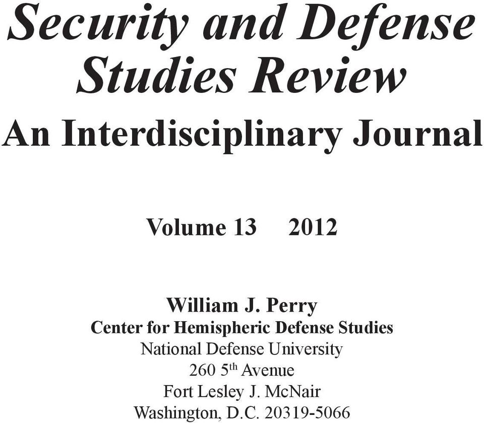 Perry Center for Hemispheric Defense Studies National