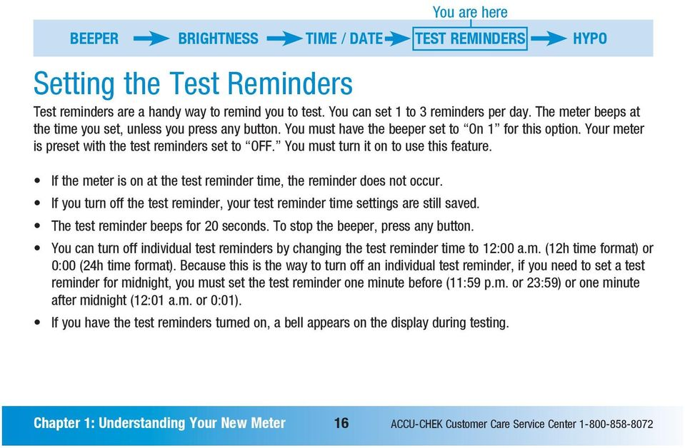 You must turn it on to use this feature. If the meter is on at the test reminder time, the reminder does not occur. If you turn off the test reminder, your test reminder time settings are still saved.