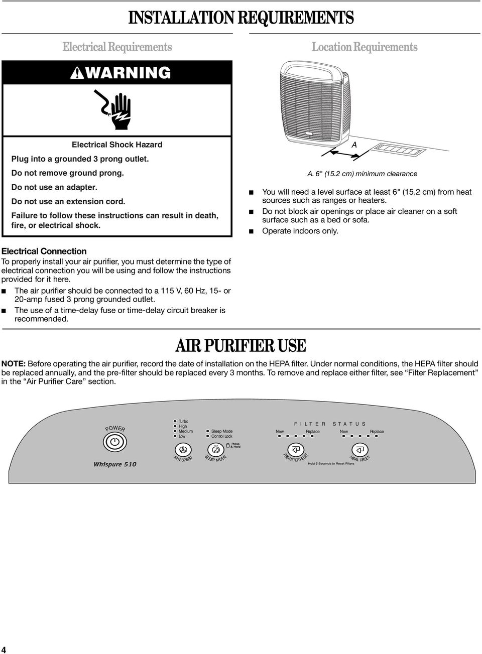 Electrical Connection To properly install your air purifier, you must determine the type of electrical connection you will be using and follow the instructions provided for it here.