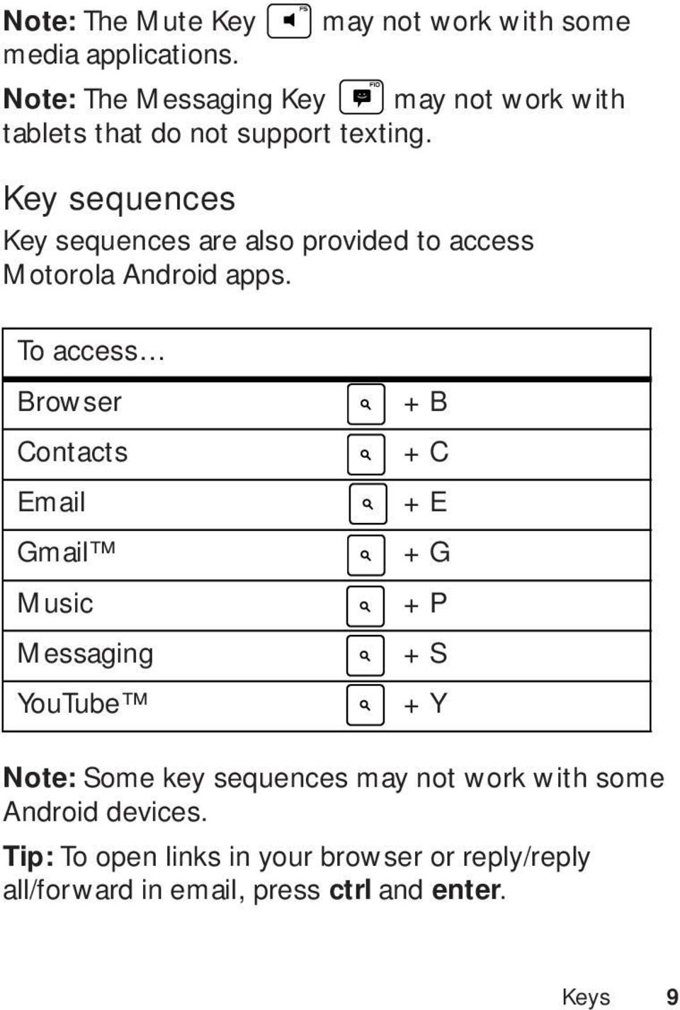 Key sequences Key sequences are also provided to access Motorola Android apps.