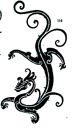 Fig.97 Dragón chino. En : YE Yingsui, YE Shuqin and Fig. 98 Decorado en YE Duyi. Auspicious Designs of China. Beijing- China. la Palca Foto de la autora. 2002:103 Puno 2006 Fig. 99 Dragón chino.