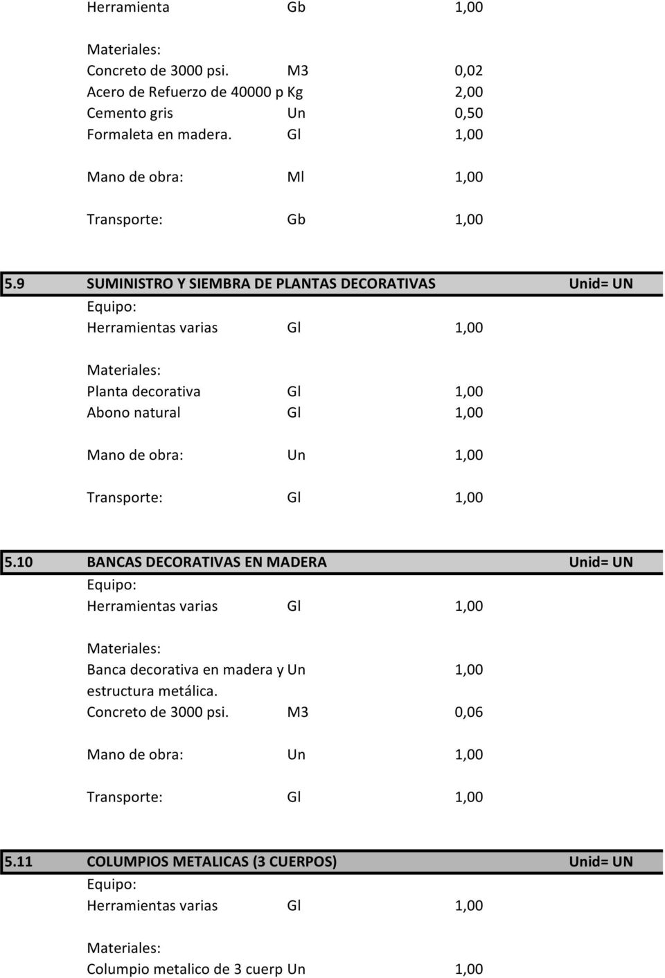Gl 1,00 Mano de obra: Ml 1,00 Transporte: Gb 1,00 5.