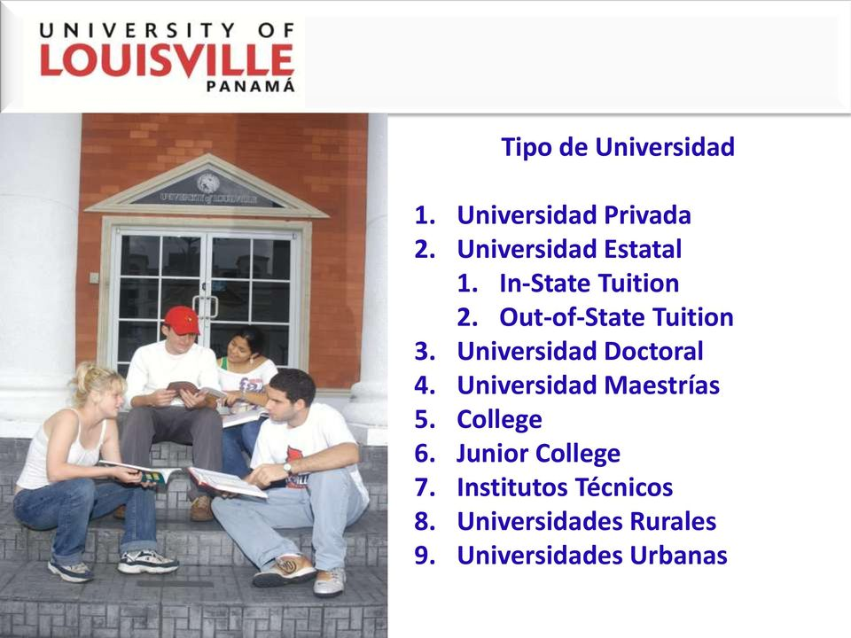 Out-of-State Tuition 3. Universidad Doctoral 4.