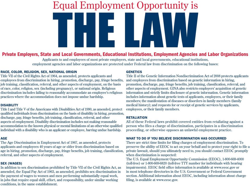 COLOR, RELIGION, SEX, NATIONAL ORIGIN Title VII of the Civil Rights Act of 1964, as amended, protects applicants and employees from discrimination in hiring, promotion, discharge, pay, fringe