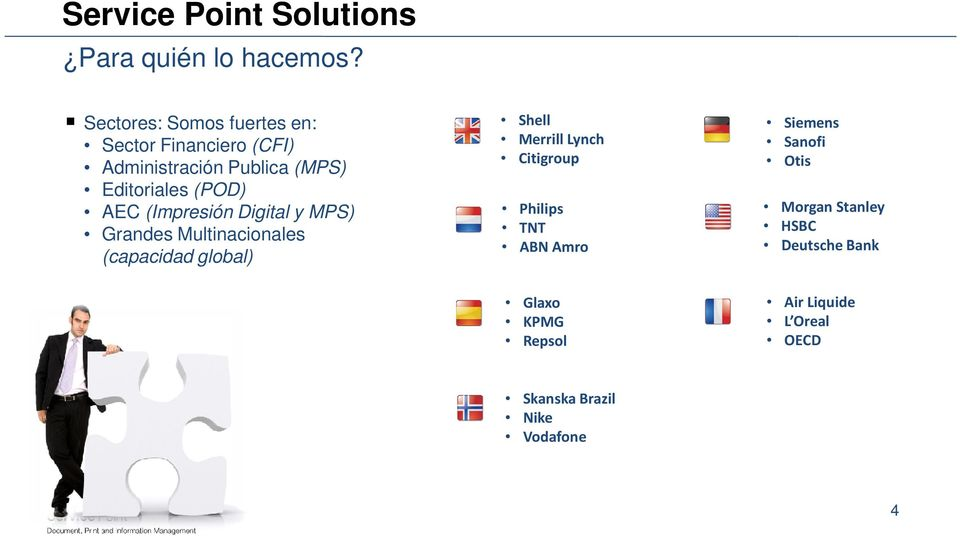AEC (Impresión Digital y MPS) Grandes Multinacionales (capacidad global) Shell Merrill Lynch