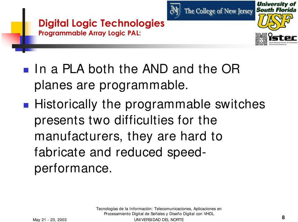Historically the programmable switches presents two difficulties