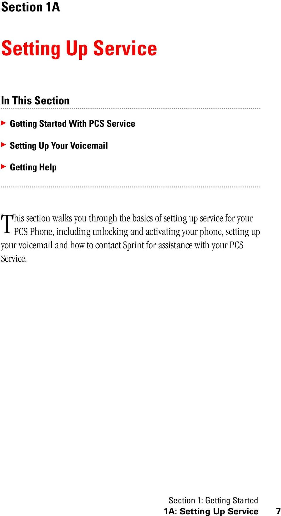PCS Phone, including unlocking and activating your phone, setting up your voicemail and how to