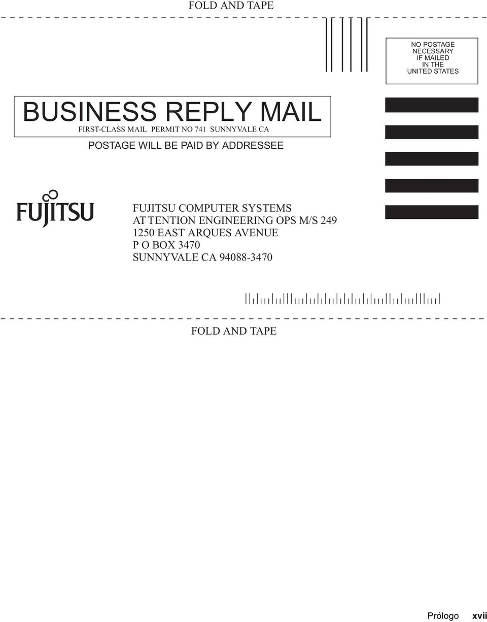 BY ADDRESSEE FUJITSU COMPUTER SYSTEMS AT TENTION ENGINEERING OPS M/S 249 1250