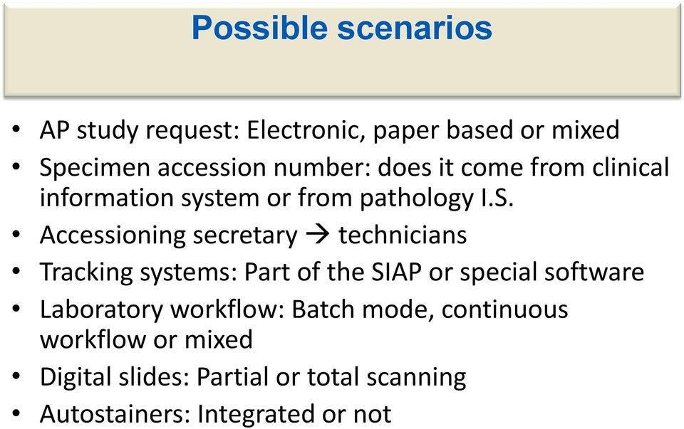 Accessioning secretary technicians Tracking systems: Part of the SIAP or special software