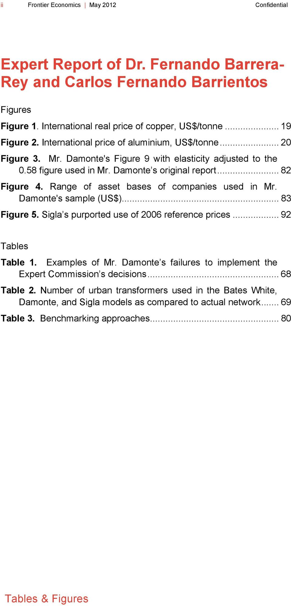Range of asset bases of companies used in Mr. Damonte's sample (US$)... 83 Figure 5. Sigla s purported use of 2006 reference prices... 92 Tables Table 1. Examples of Mr.
