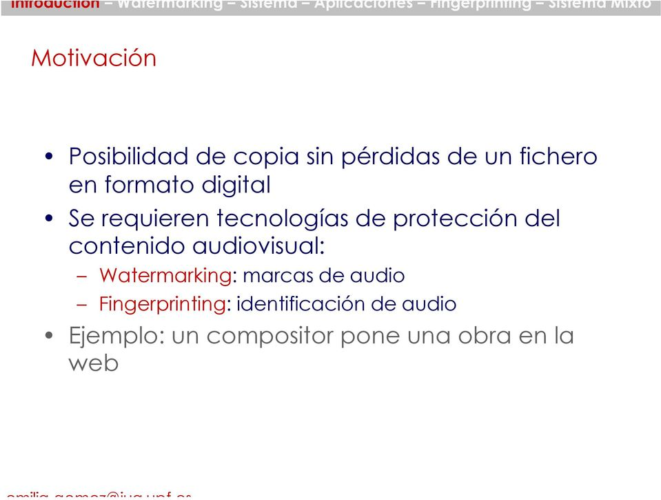 contenido audiovisual: Watermarking: marcas de audio