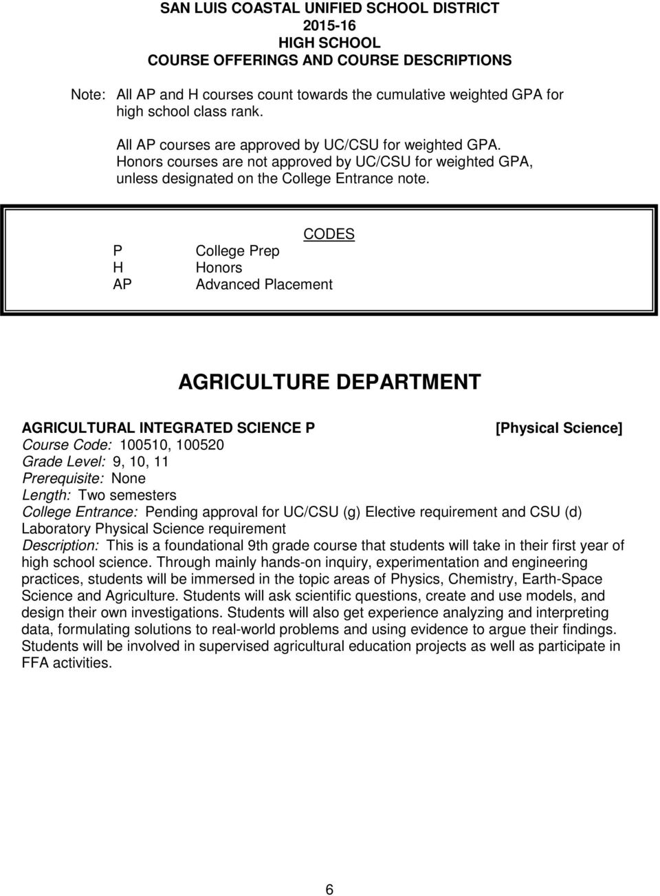 P H AP CODES College Prep Honors Advanced Placement AGRICULTURE DEPARTMENT AGRICULTURAL INTEGRATED SCIENCE P [Physical Science] Course Code: 100510, 100520 Grade Level: 9, 10, 11 Prerequisite: None