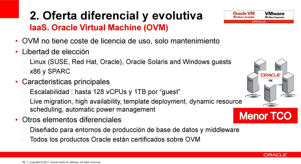 Windows guests x86 y SPARC Caracteristicas principales Escalabilidad : hasta 128 vcpus y 1TB por guest Live migration, high availability, template deployment,