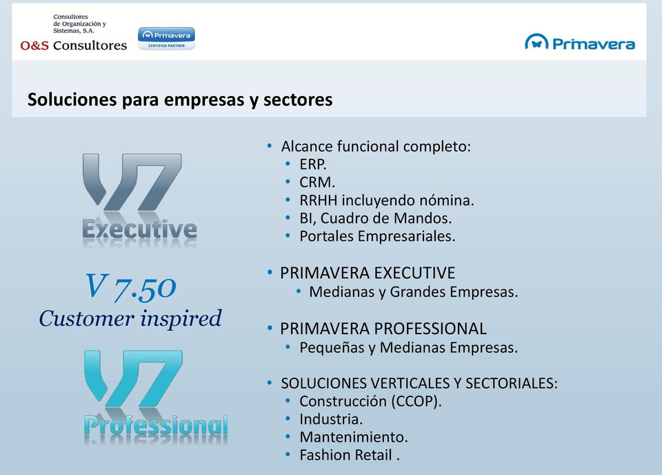 50 Customer inspired PRIMAVERA EXECUTIVE Medianas y Grandes Empresas.