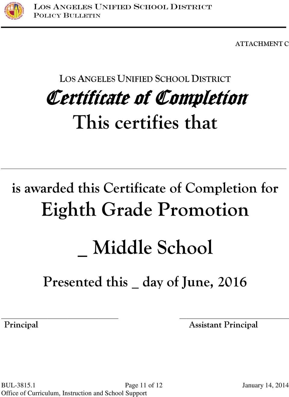 Completion for Eighth Grade Promotion _ Middle School Presented this _
