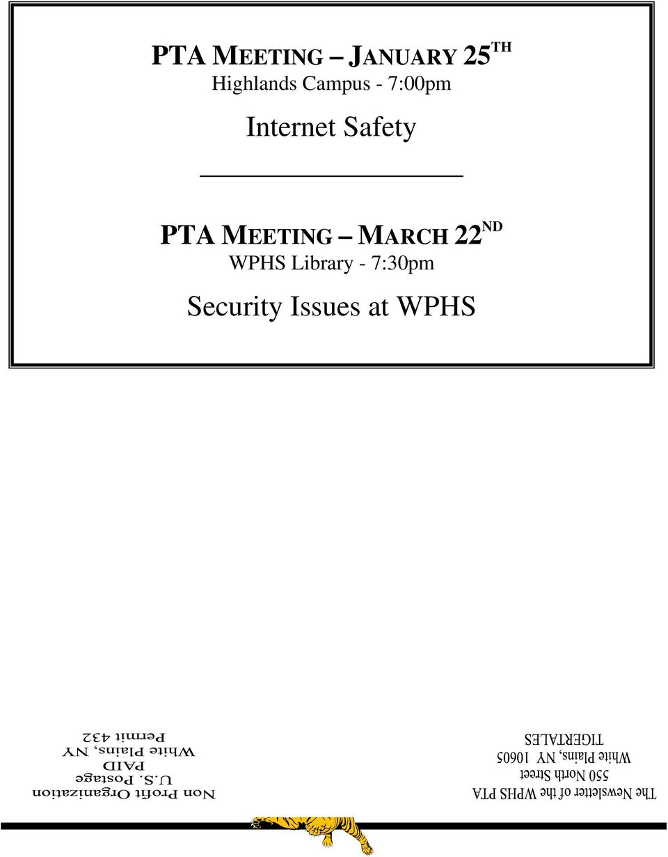 Safety PTA MEETING MARCH 22 ND