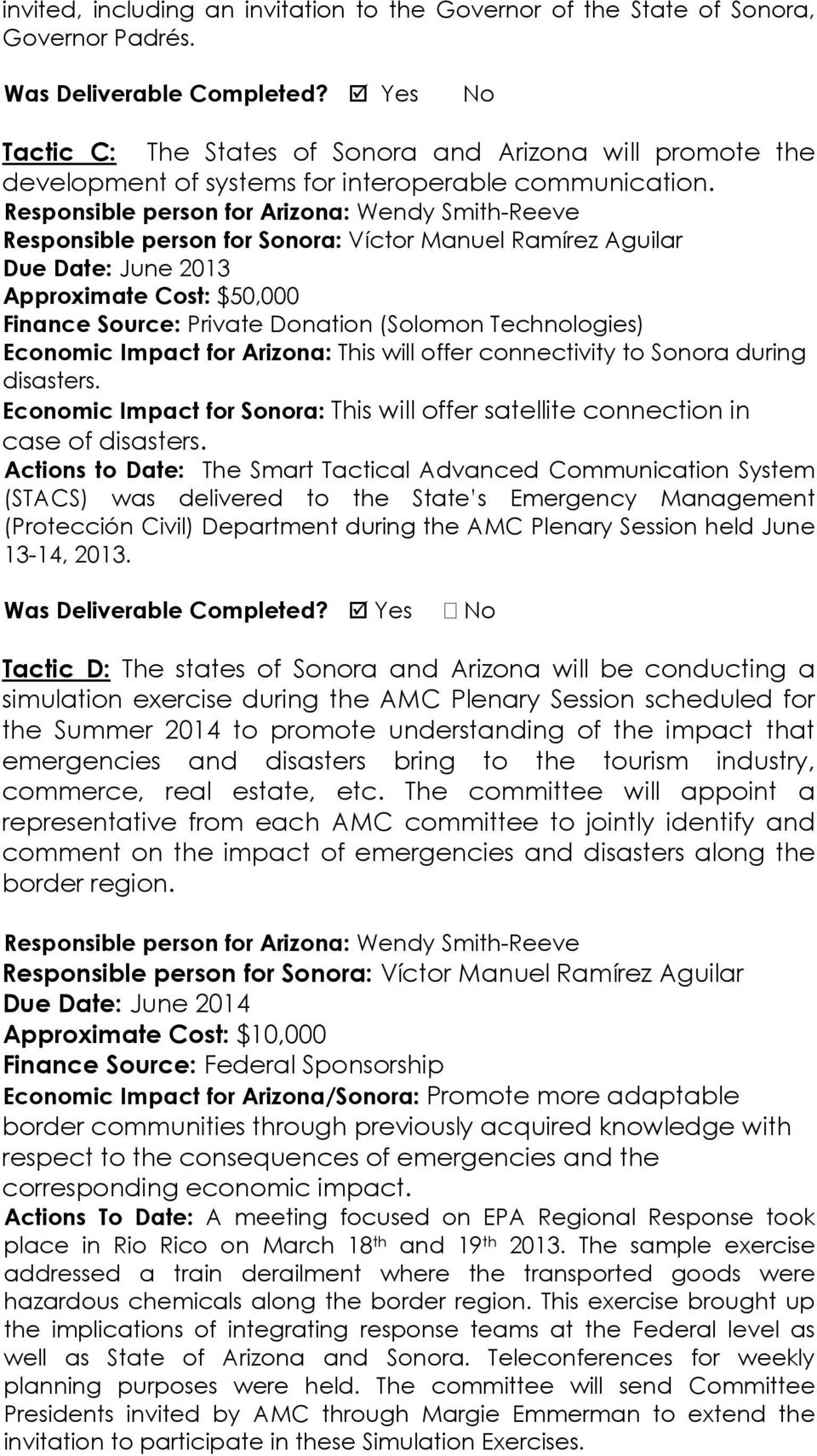 Responsible person for Arizona: Wendy Smith-Reeve Responsible person for Sonora: Víctor Manuel Ramírez Aguilar Due Date: June 2013 Approximate Cost: $50,000 Finance Source: Private Donation (Solomon