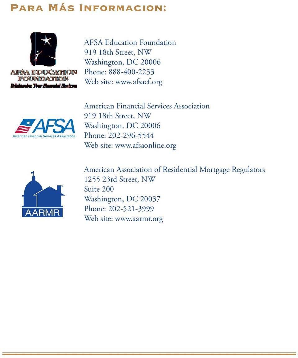 org American Financial Services Association 919 18th Street, NW Washington, DC 20006 Phone:
