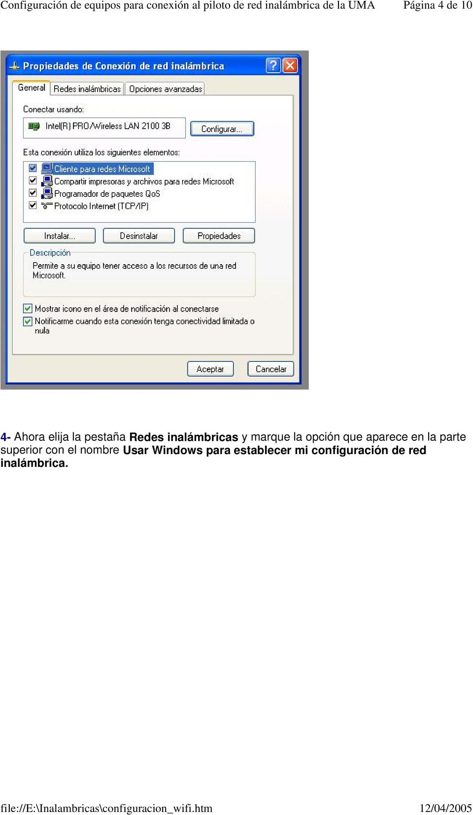 la parte superior con el nombre Usar Windows