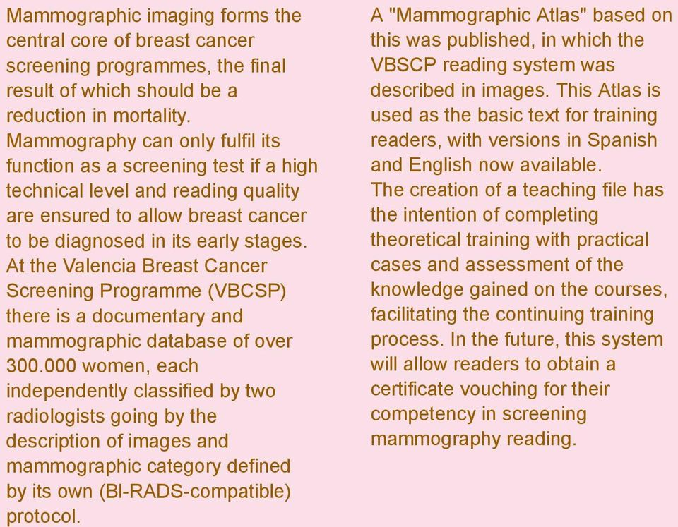 At the Valencia Breast Cancer Screening Programme (VBCSP) there is a documentary and mammographic database of over 300.