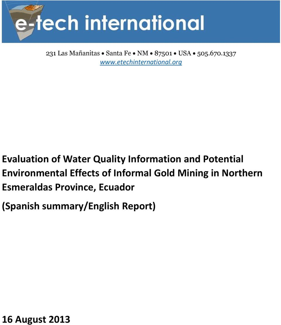 org Evaluation of Water Quality Information and Potential