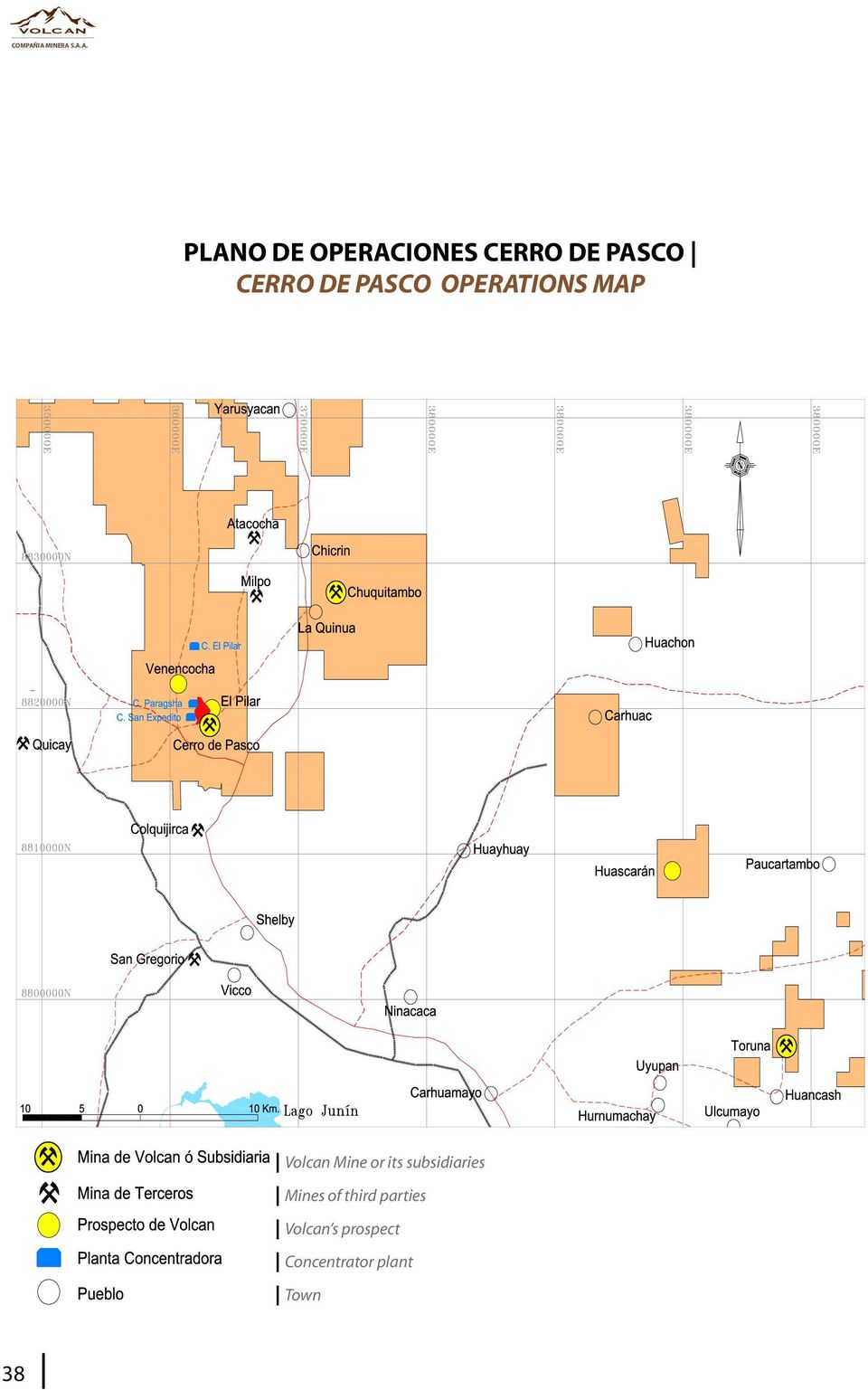 PASCO CERRO DE PASCO OPERATIONS MAP Volcan