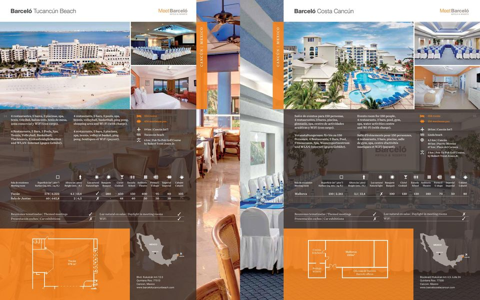 4 restaurants, 5 bars, 3 pools, spa, tennis, volleyball, basketball, ping pong, shopping area and Wi-Fi (with charge).